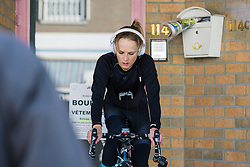 Lex Albrecht finds a quiet corner to warm up - Le Samyn des Dames 2016, a 113km road race from Quaregnon to Dour, on March 2, 2016 in Hainaut, Belgium.