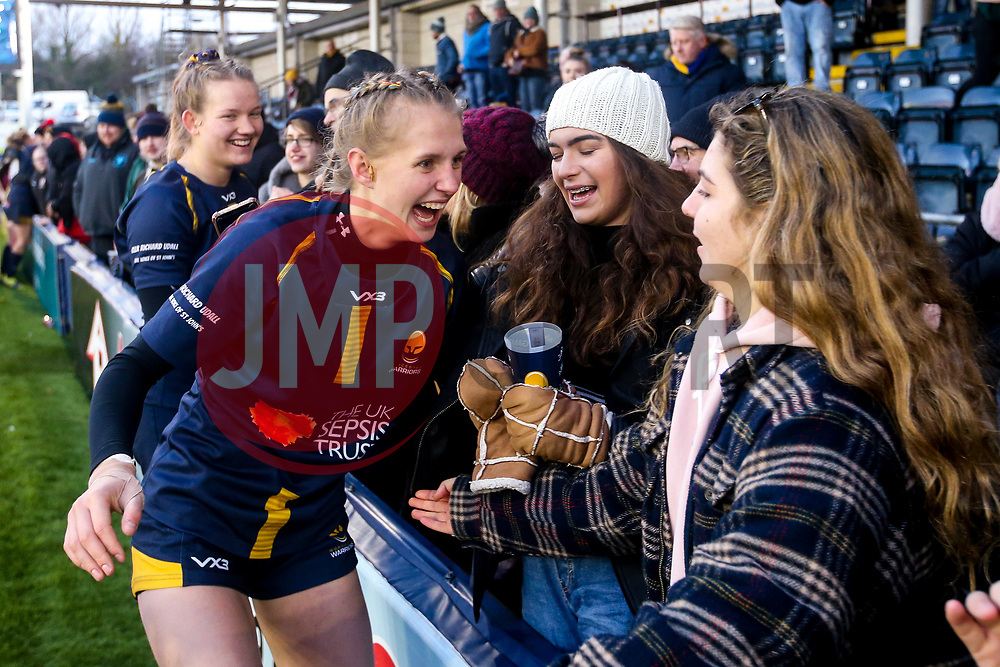 Vicky Laflin of Worcester Warriors Women celebrates victory over Bristol Bears Women - Mandatory by-line: Robbie Stephenson/JMP - 01/12/2019 - RUGBY - Sixways Stadium - Worcester, England - Worcester Warriors Women v Bristol Bears Women - Tyrrells Premier 15s