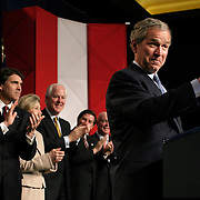 Pres. Bush attends a Bush/Cheney 2004 fundraiser Monday, March 8, 2004, in Houston, TX.  Also attending are Texas Gov. Rick Perry, Sen. Kay Bailey Hutchinson, Sen. John Cornyn, and House Majority Leader Tom Delay...Photo by Khue Bui