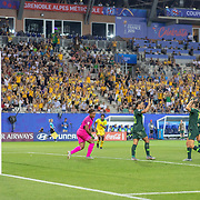 GRENOBLE, FRANCE June 18. Sam Kerr #20 of Australia celebrates her fourth goal with Caitlin Foord #9 of Australia after pouncing on an error from goalkeeper Nicole McClure #13 of Jamaica during the Jamaica V Australia, Group C match at the FIFA Women's World Cup at Stade des Alpes on June 18th 2019 in Grenoble, France. (Photo by Tim Clayton/Corbis via Getty Images)