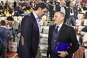 DESCRIZIONE : Campionato 2014/15 Virtus Acea Roma - Enel Brindisi<br /> GIOCATORE : Dejan Bodiroga Fabio Facchini<br /> CATEGORIA : Ritratto VIP Spettatori Pubblico Fair Play<br /> SQUADRA : Virtus Acea Roma<br /> EVENTO : LegaBasket Serie A Beko 2014/2015<br /> GARA : Virtus Acea Roma - Enel Brindisi<br /> DATA : 19/04/2015<br /> SPORT : Pallacanestro <br /> AUTORE : Agenzia Ciamillo-Castoria/GiulioCiamillo