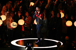 February 3, 2019 - Atlanta, GA, U.S. - ATLANTA, GA - FEBRUARY 03:  Adam Levine performs during the Pepsi Halftime Show during Super Bowl LIII between the Los Angeles Rams and the New England Patriots on February 3, 2019 at Mercedes Benz Stadium in Atlanta, GA.  (Photo by Rich Graessle/Icon Sportswire) (Credit Image: © Rich Graessle/Icon SMI via ZUMA Press)