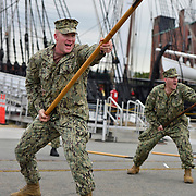 BOSTON -- SEPT 10, 2019 -- U.S. Navy Gunners Mate 1st Class Cole Disy of Caribou, Maine practices with a pike at the USS Constitution in Boston with his class of Chief Selects. <br /> <br /> Across the U.S. Navy every year, Chief Petty Officers train 1st Class Petty Officers who have been selected for promotion in a summer-long training program. The Final Week, in the week leading up to the pinning ceremony in mid-September, is filled with important training events. <br /> <br /> This year, the Greater New England Chiefs Mess met for their first day of Final Week training at USS Constitution, at Charlestown Navy Yard in Boston. Greater New England Chiefs Mess is made up of Reserve Chiefs from seven Navy Reserve Operational Support Centers, all within four hours drive of Boston. USS Constitution is the world's oldest commissioned warship.  <br /> <br /> U.S. Navy Photo by Chief Mass Communication Specialist Roger S. Duncan