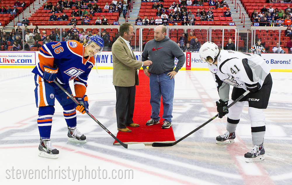 November 30, 2013: The Oklahoma City Barons play the San Antonio Rampage in an American Hockey League game at the Cox Convention Center in Oklahoma City.
