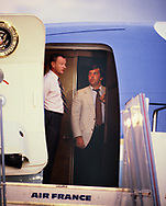 Zbigniew Kazimierz Brzezinski  and Hamm Jordan on Air Force One after  a summit of USA, France, Germany and the UK in Gualeloupe, France on January 4 --7th,1979<br /> Photo by Dennis Brack
