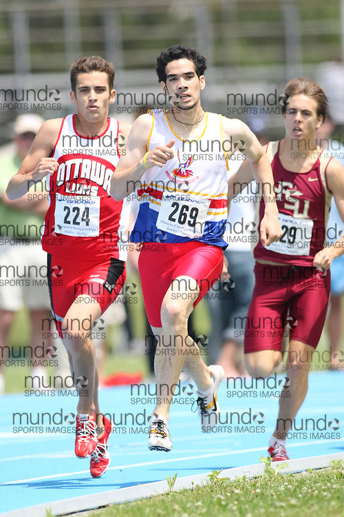 "(Ottawa, Ontario---20080622) ""West, Richard of Phoenix Athletics Associati"" and ""Milks, Kyle of ON - Ottawa Lions T&F Club"" competing in the Ontario,track and field,athletics,Supermeet I,OTFA at Supermeet I, the 2008 Ontario Track and Field Association (OTFA) Junior/Senior Track and Field Championships. This image is copyright Sean W. Burges, and the photographer can be contacted at seanburges@yahoo.com."