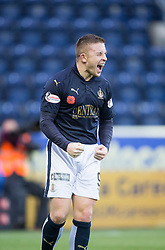 Falkirk's John Baird celebrates after scoring their second goal. <br /> Falkirk 5 v 0 Alloa Athletic, Scottish Championship game played at The Falkirk Stadium.