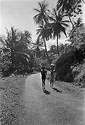 Byvägen i byn Blanchisseuse på Trinidad 1970 Blanchisseuse på Trinidad i Västindien