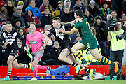 New Zealand's Shaun Kenny-Dowall fends off the challenge during the Ladbrokes Four Nations match between Australia and New Zealand at Anfield, Liverpool, England on 20 November 2016. Photo by Craig Galloway.