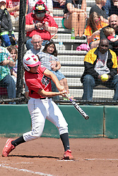 19 April 2014:  Jordan De Los Reyes during an NCAA women's softball game between the Evansville Purple Aces and the Illinois State Redbirds on Marian Kneer Field in Normal IL