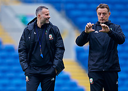 CARDIFF, WALES - Thursday, November 15, 2018: Wales' manager Ryan Giggs (L) and goalkeeping coach Tony Roberts (R) during a training session at the Cardiff City Stadium ahead of the UEFA Nations League Group Stage League B Group 4 match between Wales and Denmark. (Pic by David Rawcliffe/Propaganda)