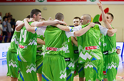 Players of Slovenia celebrate after winning the basketball match between National teams of Sweden and Slovenia in First Round of U20 Men European Championship Slovenia 2012, on July 13, 2012 in Domzale, Slovenia. Slovenia defeated Sweden 70-69. (Photo by Vid Ponikvar / Sportida.com)