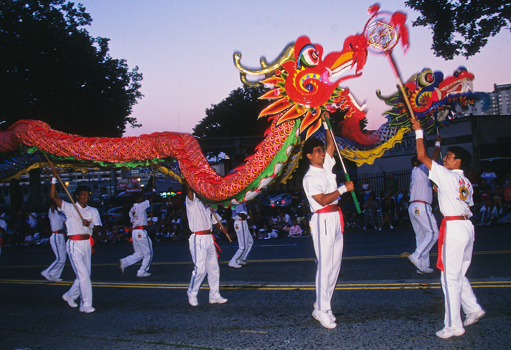 North America, United States, Washington, Seattle, Lion Dance procession during Chinese New Year celebration
