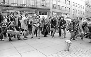 National Street Bands Get Together on Fargate during  Defend Sheffield Week of Action. 25/02/1984.