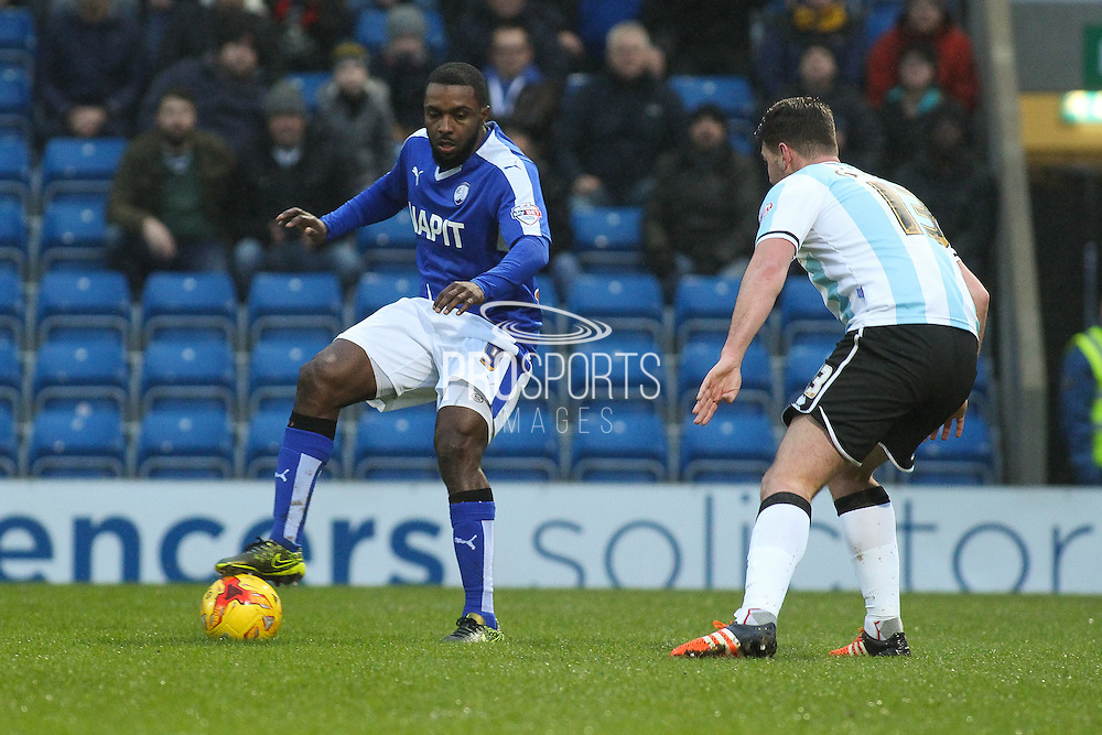 Chesterfield FC forward Sylvan Ebanks-Blake holds the ball up during the Sky Bet League 1 match between Chesterfield and Shrewsbury Town at the Proact stadium, Chesterfield, England on 2 January 2016. Photo by Aaron Lupton.