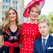21-7-2018 BRUSSELS, BELGIUM: PPrince Emmanuel, Princess Eleonore, Prince Gabriel, Crown Princess Elisabeth, Queen Mathilde of Belgium and King Philippe - Filip of Belgium pictured after the Te Deum mass, on the occasion of today's Belgian National Day, at the Saint Michael and St Gudula Cathedral (Cathedrale des Saints Michel et Gudule / Sint-Michiels- en Sint-Goedele kathedraal) COPYRIGHT ROBIN UTRECHT