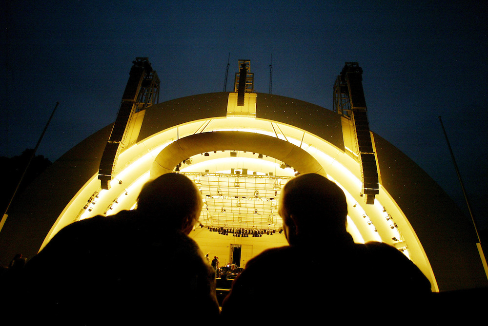 Murray Seigal, left, and his son Gary, take in the renovated Hollywood Bowl  during an architectural tour Wednesday June 16, 2004.