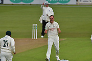 Stuart Broad celebrates the wicket of Harry Finch (not shown) during the Specsavers County Champ Div 2 match between Nottinghamshire County Cricket Club and Sussex County Cricket Club at Trent Bridge, West Bridgford, United Kingdon on 21 April 2017. Photo by Simon Trafford.