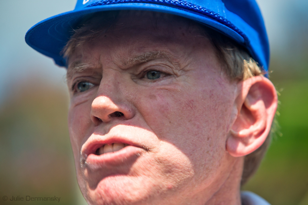 """David Duke, former Ku Klux Klan grand wizard and a candidate for U.S. Senate, in front of Jackson Square. He said he was there to protect the monument along with a few others. Activist threatened to take down the statue of Andrew Jackson in the park today. Duke left the park before people on a """"Take Em Down NOLA"""" march got to the park. The march was led by activists who are angry that city officials have not removed the four monuments honoring Confederates and others who fought for white supremacy that the city council voted to remove. The police barricaded the statue so no attempt to remove it was made."""