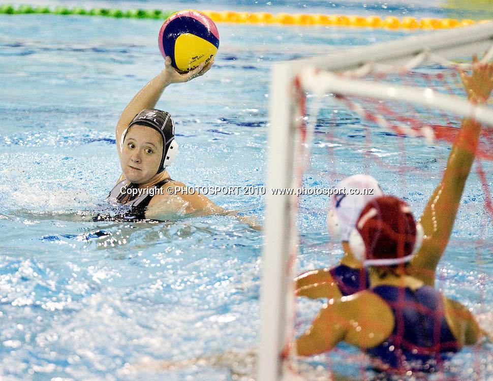 New Zealand player Casie Bowry takes a shot at goal during the game. FINA Women's Water Polo world cup, New Zealand v China. QEII, Christchurch, Friday 20 August 2010. Photo: Joseph Johnson/PHOTOSPORT