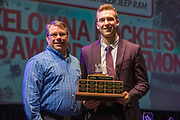 KELOWNA, CANADA - MARCH 18:  Plus Minus Award Sponsored by GSL Group.  The award was presented by Michael Topolniski to Gordie Ballhorn at the Kelowna Rockets Awards Ceremony on March 18, 2018 at The Kelowna Community Theatre  in Kelowna, British Columbia, Canada.  (Photo By Cindy Rogers/Nyasa Photography,  *** Local Caption ***