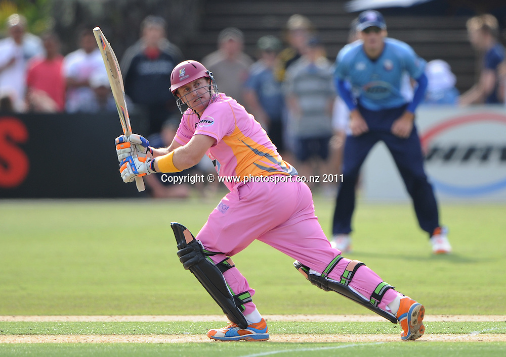 Scott Styris batting during the HRV Twenty20 Cricket match between the Auckland Aces and Northern Knights at Colin Maiden Oval in Auckland on Monday 26 December 2011. Photo: Andrew Cornaga/Photosport.co.nz