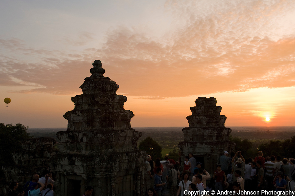View from Phnom Bakheng temple over Angkor Wat sunset