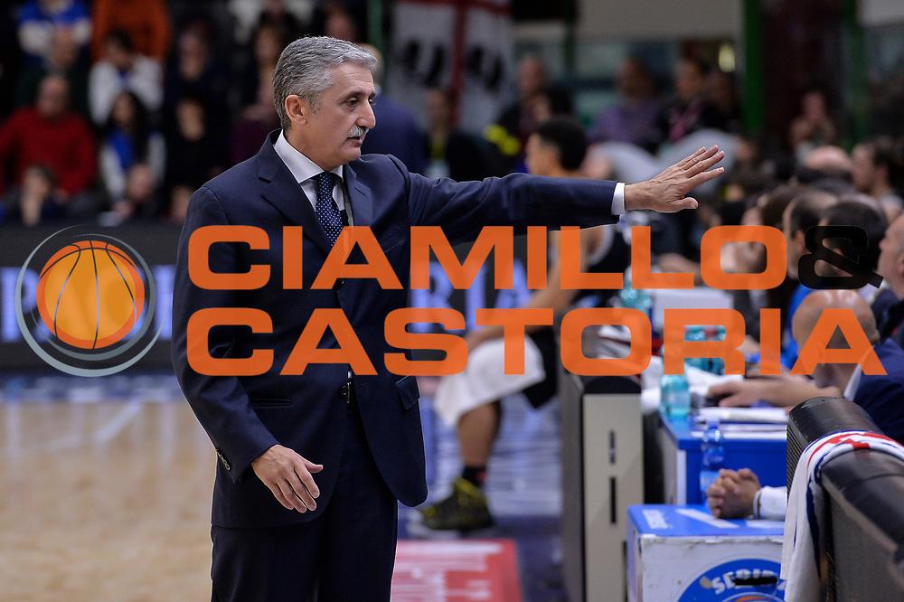 DESCRIZIONE : Campionato 2015/16 Serie A Beko Dinamo Banco di Sardegna Sassari - Dolomiti Energia Trento<br /> GIOCATORE : Marco Calvani<br /> CATEGORIA : Allenatore Coach<br /> SQUADRA : Dinamo Banco di Sardegna Sassari<br /> EVENTO : LegaBasket Serie A Beko 2015/2016<br /> GARA : Dinamo Banco di Sardegna Sassari - Dolomiti Energia Trento<br /> DATA : 06/12/2015<br /> SPORT : Pallacanestro <br /> AUTORE : Agenzia Ciamillo-Castoria/L.Canu