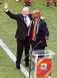 President Jacob Zuma of South Africa (R) and President of FIFA Sepp Blatter during the Opening Ceremony ahead of the Group A first round 2010 FIFA World Cup South Africa match between South Africa and Mexico at Soccer City Stadium on June 11, 2010 in Johannesburg, South Africa.  (Photo by Vid Ponikvar / Sportida)
