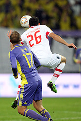 Dalibor Volas of NK Maribor and Paulo Vinicius of NK Braga at 3th round of European Leauge football match between Nk Maribor and Nk Braga, November 20, 2011, in Maribor, Slovenia (Photo by Urban Urbanc / Sportida ) .