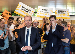 © Licensed to London News Pictures. 01/06/2017. London, UK. Liberal Democrat Leader TIM FARRON (R) and NICK CLEGG (L) attend a party rally at the Shiraz Mirza Community Centre in Norbiton. Photo credit: Rob Pinney/LNP