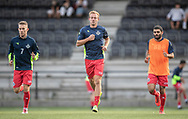 Anders Holst, Jonas Henriksen og Daniel Norouzi (FC Helsingør) under opvarmningen til kampen i 2. Division mellem HIK og FC Helsingør den 30. august 2019 i Gentofte Sportspark (Foto: Claus Birch).