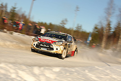 14.02.2015, Karlstad, Karlstad, SWE, FIA, WRC, Schweden Rallye, im Bild Mads Ostberg/Jonas Andersson (Citroen Total Abu Dhabi WRT/DS3 WRC) // during the WRC Sweden Rallye at the Karlstad in Karlstad, Sweden on 2015/02/14. EXPA Pictures © 2015, PhotoCredit: EXPA/ Eibner-Pressefoto/ Bermel<br /> <br /> *****ATTENTION - OUT of GER*****