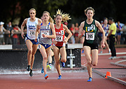 Marie Bouchard (395) of San Francisco), Allie Ostrander (72) of Boise State,  and Grayson Murphy (554) of Utah lead the women's steeplechase m in the Stanford Invitational in Stanford, Calif., Friday, Mar 30, 2018. Ostrander won in 9:38,57. Bouchard was second in 9:47.03 and Murphy was third in 9:51.36. (Gerome Wright/Image of Sport)