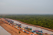 Aerial view of the  end of the road to the floating village of Kampong Phluk, south of Siem Reap, Cambodia.