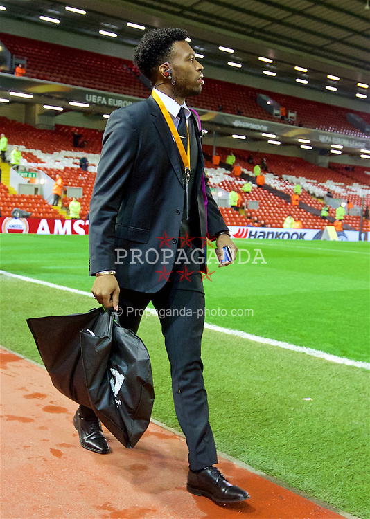 LIVERPOOL, ENGLAND - Thursday, March 10, 2016: Liverpool's Daniel Sturridge arrives ahead of the UEFA Europa League Round of 16 1st Leg match against Manchester United at Anfield. (Pic by David Rawcliffe/Propaganda)
