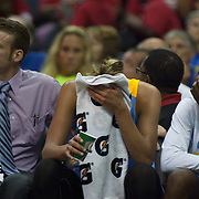 Chicago Sky Forward ELENA DELLE DONNE (11) cover her face with a towel after leaving the game in the third quarter after colliding with Washington Mystics Center KIA VAUGHN (9) Wednesday, July. 24, 2013 at The Verizon center in Washington DC.