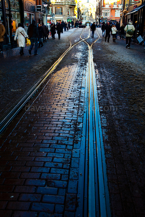 Muddy tram rails on Leidsestraat, Amsterdam, December 2010
