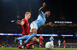 Hordur Magnusson of Bristol City tackles Raheem Sterling of Manchester City  - Mandatory by-line: Matt McNulty/JMP - 09/01/2018 - FOOTBALL - Etihad Stadium - Manchester, England - Manchester City v Bristol City - Carabao Cup Semi-Final First Leg