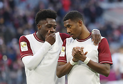 08.03.2020, Allianz Arena, Muenchen, GER, 1. FBL, FC Bayern Muenchen vs FC Augsburg, 25. Runde, im Bild Alphonso Davies und David Alaba // during the German Bundesliga 25th round match between FC Bayern Muenchen and FC Augsburg at the Allianz Arena in Muenchen, Germany on 2020/03/08. EXPA Pictures © 2020, PhotoCredit: EXPA/ SM<br /> <br /> *****ATTENTION - OUT of GER*****