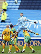 Coventry - Saturday, March 8th, 2008: Leon Best of Coventry City outjumps the Norwich City defence during the Coca Cola Championship match at the Ricoh Arena, Coventry. (Pic by Paul Hollands/Focus Images)