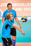 Katowice, Poland - 2017 September 02: Athlete Martin Chocholousek from SO Czech Republic receives the ball while SO Finland versus SO Czech Republic during European Unified Volleyball Tournament 2017 at Spodek Hall on September 02, 2017 in Katowice, Poland.<br /> <br /> Adam Nurkiewicz declares that he has no rights to the image of people at the photographs of his authorship.<br /> <br /> Picture also available in RAW (NEF) or TIFF format on special request.<br /> <br /> Any editorial, commercial or promotional use requires written permission from the author of image.<br /> <br /> Image can be used in the press when the method of use and the signature does not hurt people on the picture.<br /> <br /> Mandatory credit:<br /> Photo by © Adam Nurkiewicz / Mediasport