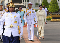 May 2, 2019 - Bangkok, Thailand - Thailand's King Maha Vajiralongkorn (L) and Queen Suthida (R) and his daughter Princess Bajrakitiyabha arrive to pay homage to the statue of former King Chulalongkorn or King Rama V ahead of the royal coronation at the Royal Plaza in Bangkok. (Credit Image: © Pool/SOPA Images via ZUMA Wire)