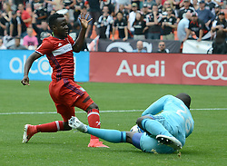 May 20, 2017 - Washington, DC, USA - 20170520 - D.C. United goalkeeper BILL HAMID (28) defends a scoring attempt by Chicago Fire midfielder DAVID ACCAM (11) in the first half at RFK Stadium in Washington. (Credit Image: © Chuck Myers via ZUMA Wire)