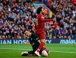 LIVERPOOL, ENGLAND - Saturday, September 22, 2018: Liverpool's Mohamed Salah and Southampton's goalkeeper Alex McCarthy during the FA Premier League match between Liverpool FC and Southampton FC at Anfield. (Pic by Jon Super/Propaganda)