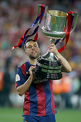 30.05.2015, Camp Nou, Barcelona, ESP, Copa del Rey, Athletic Club Bilbao vs FC Barcelona, Finale, im Bild FC Barcelona's Jordi Alba celebrates the victory // during the final match of spanish king's cup between Athletic Club Bilbao and Barcelona FC at Camp Nou in Barcelona, Spain on 2015/05/30. EXPA Pictures &copy; 2015, PhotoCredit: EXPA/ Alterphotos/ Acero<br /> <br /> *****ATTENTION - OUT of ESP, SUI*****