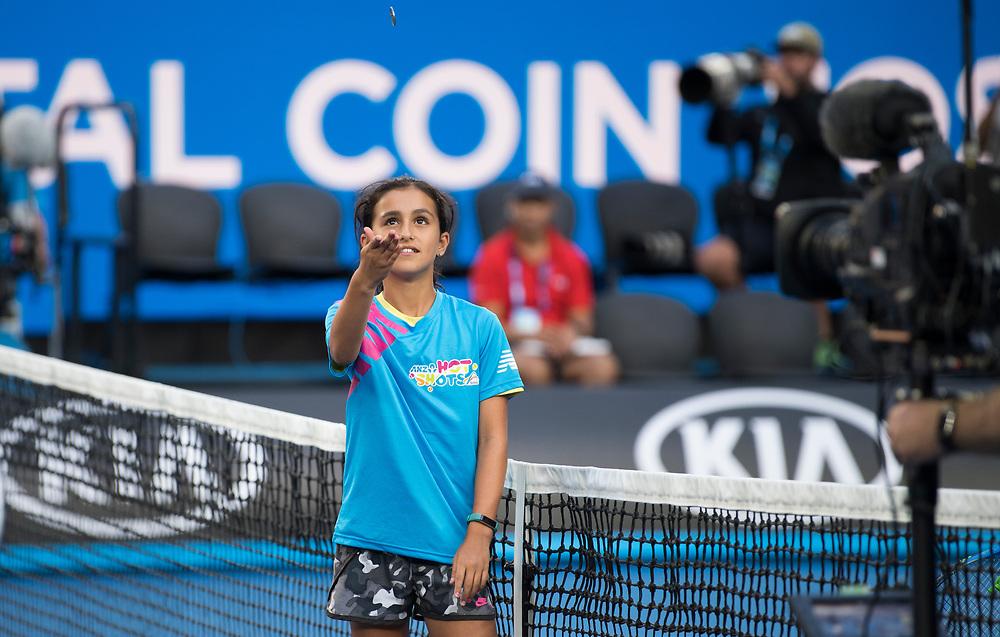 Coin toss on day nine of the 2018 Australian Open in Melbourne Australia on Wednesday January 24, 2018.<br /> (Ben Solomon/Tennis Australia)