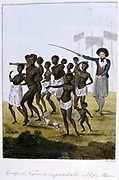 Surinam, South America, 1772-77. Group of newly arrived black slaves herded by slave master with stick. From Stedman 'Journal of Five Years Expedition against the Rebelling Blacks of Surinam 1772-77' London 1793. Hand-coloured engraving