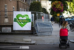 © Licensed to London News Pictures. 24/08/2018. London, UK. A Grenfell banner on the streets of Notting Hill, West London ahead of the 2018 Notting Hill Carnival which starts this weekend. Photo credit: Ben Cawthra/LNP
