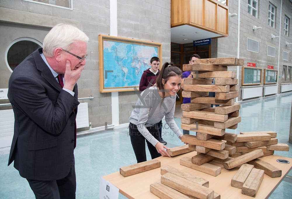 05.09. 2017.                             <br /> Limerick Institute of Technology welcomed its first year students onto Campus today 5th Sept 2017. <br /> Challenging the President of LIT, Prof. Vincent Cunnane to a game of Jenga was Marketing and Management Student Chelsea McCarthy, Patrickswell. Picture: Alan Place
